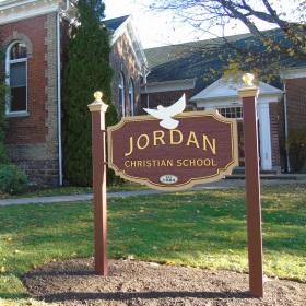 Jordan Christian School sign. Established 1984.